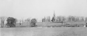 Thumbnail of Panoramic view of campus pond and old chapel