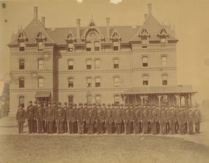 Thumbnail of Class of 1871 members pose in uniform in front of North College