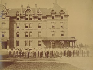 Thumbnail of Class of 1872 performing Dumbbell drill in front of North College