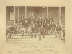 Thumbnail of Class of 1881 sitting on the steps in front of North College
