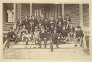 Thumbnail of Class of 1881 sitting on the front steps of North College