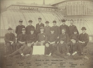 Thumbnail of Class photo of 1889 taken in front of Durfee Plant House during freshman year