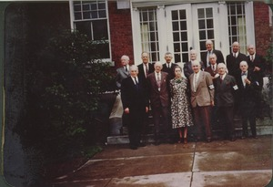 Thumbnail of Members of the class of 1905 standing outside in front of Draper Hall