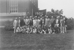Thumbnail of Members of the class of 1905 standing and sitting in front of 1905 banner near             Stockbridge Hall
