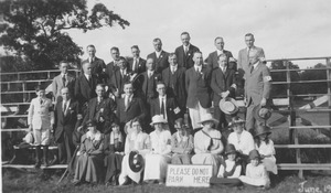 Thumbnail of Members of the class of 1905 and others sitting and standing on bleachers