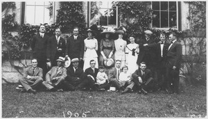 Thumbnail of Members of the class of 1905 and others standing and sitting in front of Old Chapel
