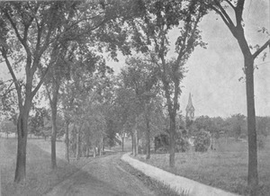 Thumbnail of Harold E. Alley drawing of tree lined road and path with old chapel