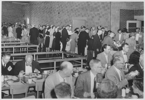Thumbnail of Class of 1911 alumni at a dining facility during a reunion