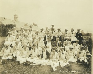 Thumbnail of Class of 1920 reunion in chef aprons and hats