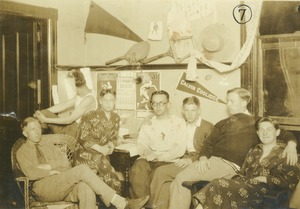 Thumbnail of Men relaxing in North College dormitory