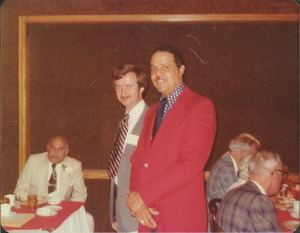 Thumbnail of Demetrius Galanie at reunion dinner with Randolph Bromery and unidentified man