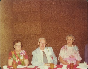 Thumbnail of Josiah Parsons with Mrs. Parsons and Mrs. Clarence Parsons at reunion dinner