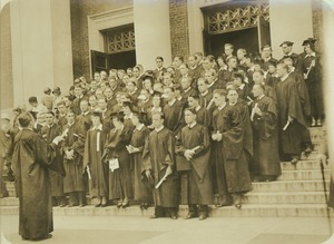Thumbnail of Class of 1931 on Stockbridge Hall steps with diplomas