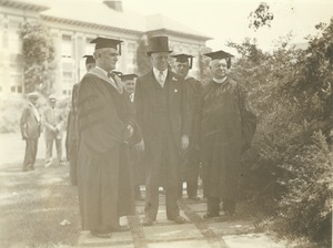 Thumbnail of Hugh P. Baker, Joseph B. Ely and Fred J. Sievers during commencement ceremonies