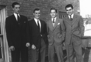 Thumbnail of Porter Whitney, John Foley, Roger Biron and Leon Barron standing outside
