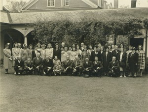 Thumbnail of Class of 1945 members with families outside lord jeffrey inn
