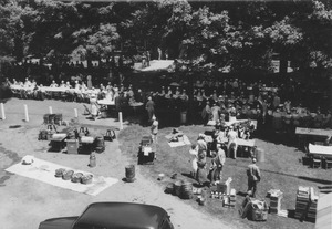 Thumbnail of Clambake preparations on campus lawn