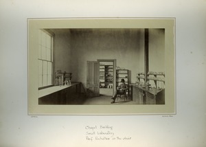 Thumbnail of Chapel Building, small laboratory, Prof. Penhallow in the chair, Massachusetts Agricultural College