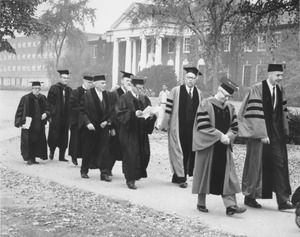 Thumbnail of Administrators and local college presidents processing to the Centennial Convocation