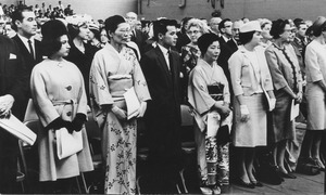 Thumbnail of Crowd at Charter Day convocation, including wives of the dean and president of Hokkaido University