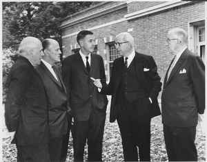 Thumbnail of John J. McCloy, Richard Gettell, Calvin Plimpton, Thomas Mendenhall, and James T. Nicholson on Convocation Day