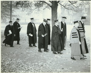 Thumbnail of John J. McCloy, Richard Gettell, Calvin Plimpton, and Thomas Mendenhall on Convocation Day