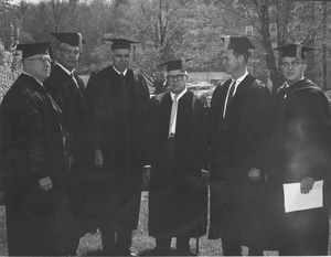 Thumbnail of Charter Day: James Pollack, Charles Avila, Glenn Seaborg, George Meany, Governor Endicott Peabody, and President John W. Lederle outside Totman Gymnasium