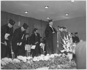 Thumbnail of Governor Endicott Peabody speaking at Charter Day convocation