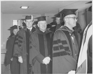 Thumbnail of Harusada Suginome, Edward M. Kennedy, Bishop Christopher J. Weldon, and President John W. Lederle during the Charter Day processional