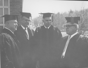 Thumbnail of Charter Day: James Pollack, Charles Avila, Glenn Seaborg, and George Meany outside Totman Gymnasium
