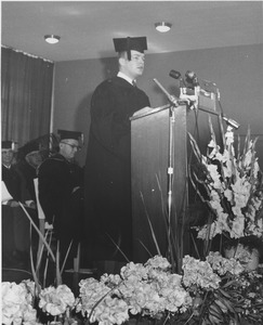 Thumbnail of Gordon N. Oakes, Jr., 1963 class president, speaking at Charter Day convocation