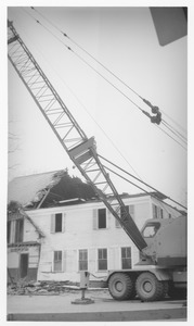 Thumbnail of Wrecking of the Mathematics Building (formerly the Entomology Building) crane standing in front of the partially demolished building