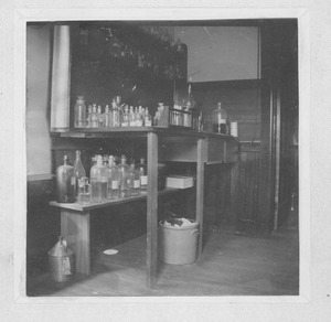 Thumbnail of Laboratory bench and chemicals in the Insectary (also known as the Entomological       Building)
