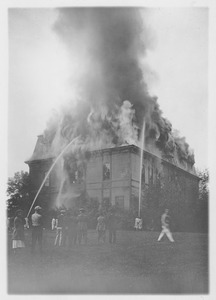 Thumbnail of Chemistry Building (also known as College Hall) in flames, Massachusetts       Agricultural College