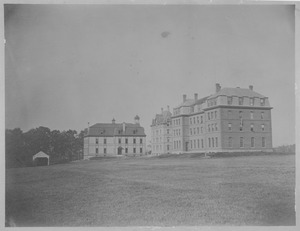 Thumbnail of Original buildings at Massachusetts Agricultural College; South College, North       College, and College Hall (r. to l.)