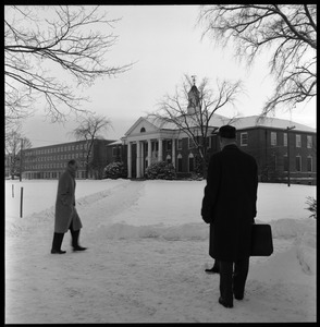 Thumbnail of People approaching Goodell Library and Bartlett Hall on  snowy day