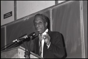 Thumbnail of James Baldwin speaking at Mahar Auditorium