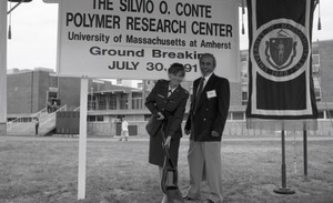 Thumbnail of Ceremonial groundbreaking for the Conte Center: unidentified woman in army             uniform and man at groundbreaking