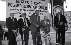 Thumbnail of Ceremonial groundbreaking for the Conte Center: Gov. William Weld and Corrine             Conte (both at center) preparing for ceremonial first shovel