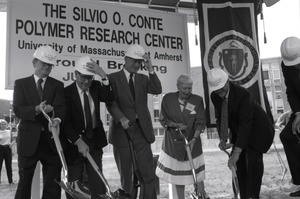 Thumbnail of Ceremonial groundbreaking for the Conte Center: Gov. William Weld and Corrine             Conte (both at center) after the first shovel of dirt
