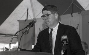 Thumbnail of Ceremonial groundbreaking for the Conte Center: unidentified speaker at the podium