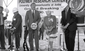 Thumbnail of Ceremonial groundbreaking: group including Gov. William Weld (center) and Corinne Conte