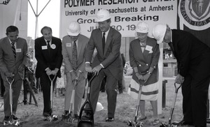 Thumbnail of Ceremonial groundbreaking: group including Gov. William Weld (center), flanked             by Stanley Rosenberg and Gordon Oakes (left) and Corinne Conte (right)