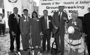 Thumbnail of Ceremonial groundbreaking: group including Gov. William Weld (second from right) and Corinne Conte