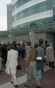 Thumbnail of Dedication ceremonies for the Conte Polymer Center: crowd milling outside the building