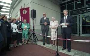 Thumbnail of Dedication ceremonies for the Conte Polymer Center: Chancellor David K. Scott             addressing the crowd, with Corinne Conte and John Olver