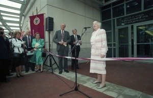 Thumbnail of Dedication ceremonies for the Conte Polymer Center: Corinne Conte addressing the         crowd
