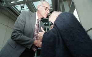 Thumbnail of Dedication ceremonies for the Conte Polymer Center: John Olver greeting Corinne             Conte