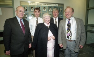 Thumbnail of Dedication ceremonies for the Conte Polymer Center: David K. Scott (right rear) with             Corinne Conte and family