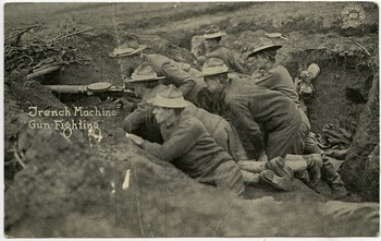 An image of: Trench machine gun fighting
